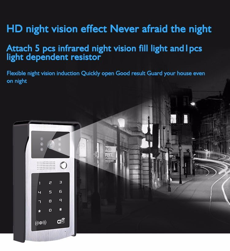 Mobile unlock Wifi video door phone camera VD-OL08WIFI HD Lens