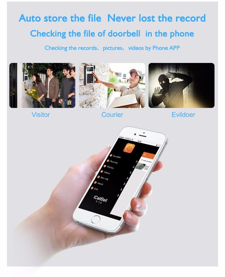 Mobile unlock Wifi video door phone camera VD-OL08WIFI function