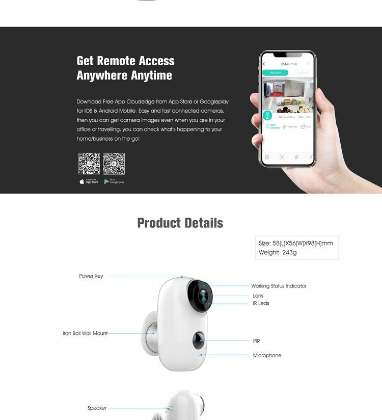 Battery Powered WIFI IP camera IPC-A3B video