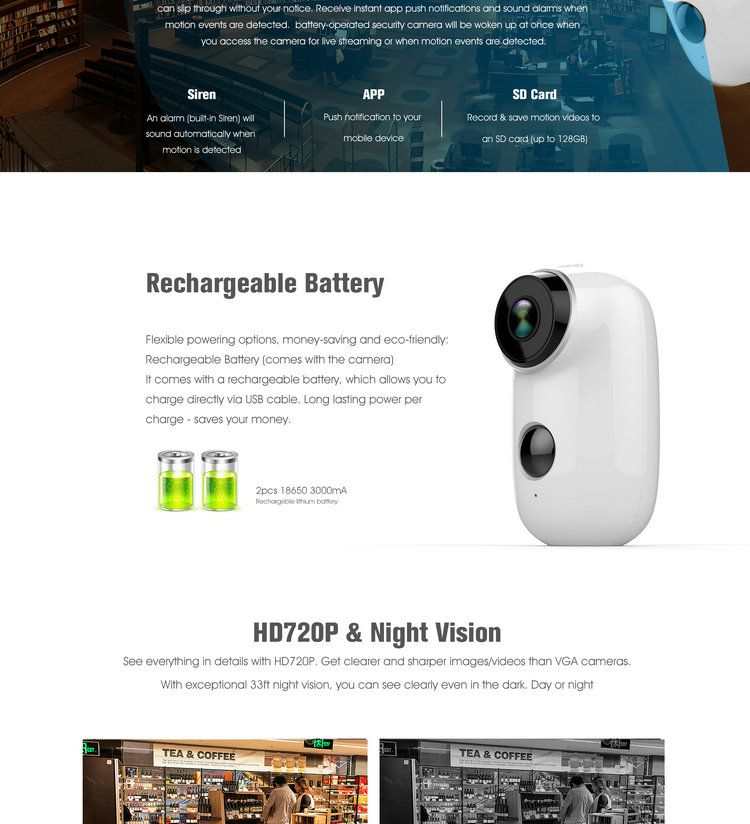 Battery Powered WIFI IP camera IPC-A3B scenes