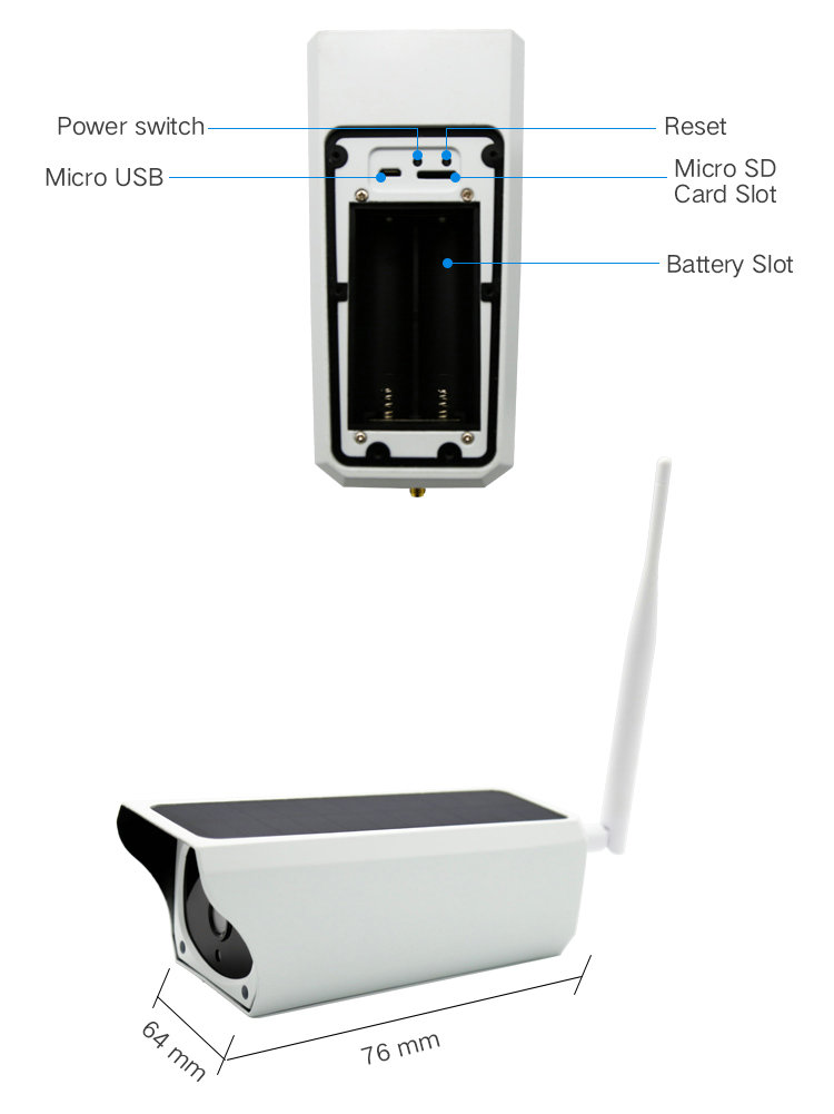 Battery Powered WIFI IP camera IPC-A3B Part function