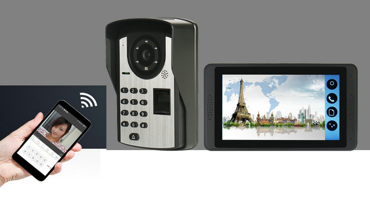 VD-613IDF 7 inch monitor Mobile Password Fingerprint unlock  wifi video door bell  Mobile Password Fingerprint unlock