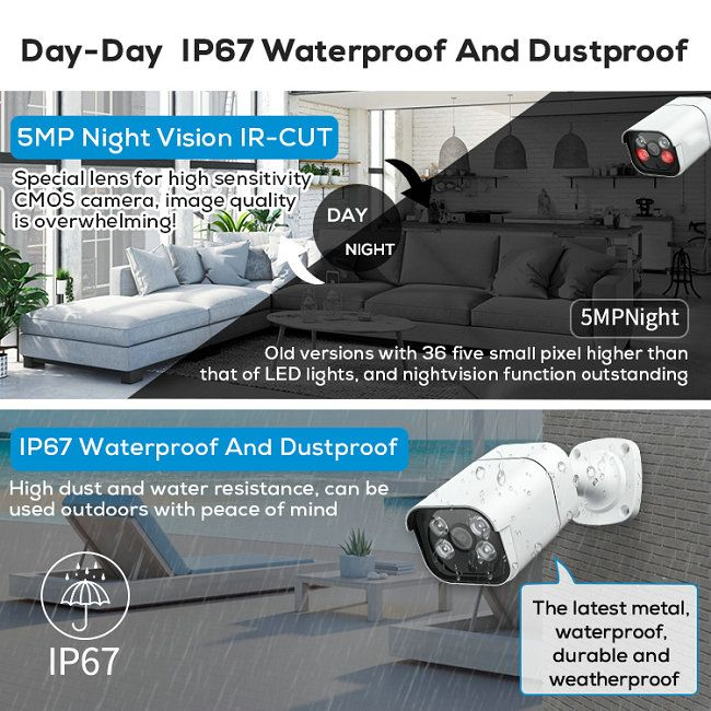 8CH H.264/H.265 POE NVR kit IPC-8Kit4700-POE-5.0MP Double light
